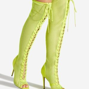 NIB Neon Yellow Sexy Over the Knee Mesh Boot